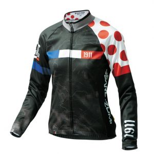 PEARL iZUMi W7455-BL-16 15度女性冬季保暖長袖車衣(黑/環法紅點)