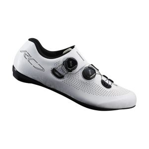 SHIMANO RC701 競賽級碳纖維男性公路車鞋 卡鞋(公司貨寬楦)(白)
